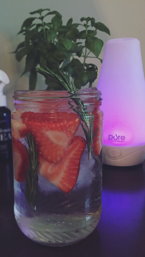 Strawberry Rosemary Water and Pure Aromatherapy Diffuser